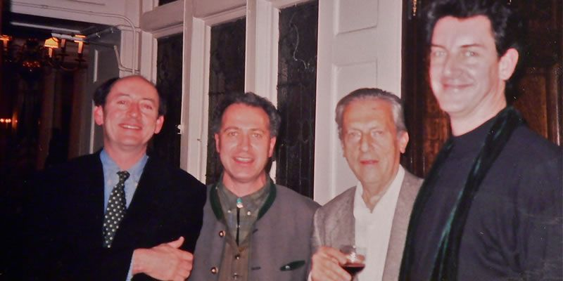 1998. Dan with Billy Collins, Greg Delanty and Samuel Menashe at the American Irish Historical Society in NYC.