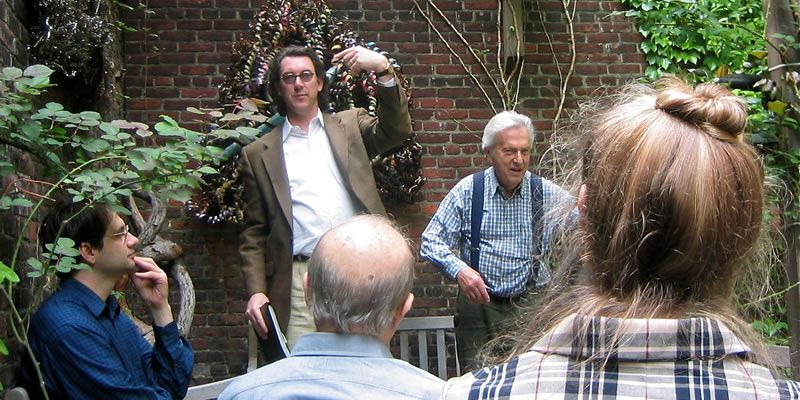 2002. Dan and Samuel Menashe at the 96th Street Library in NYC.